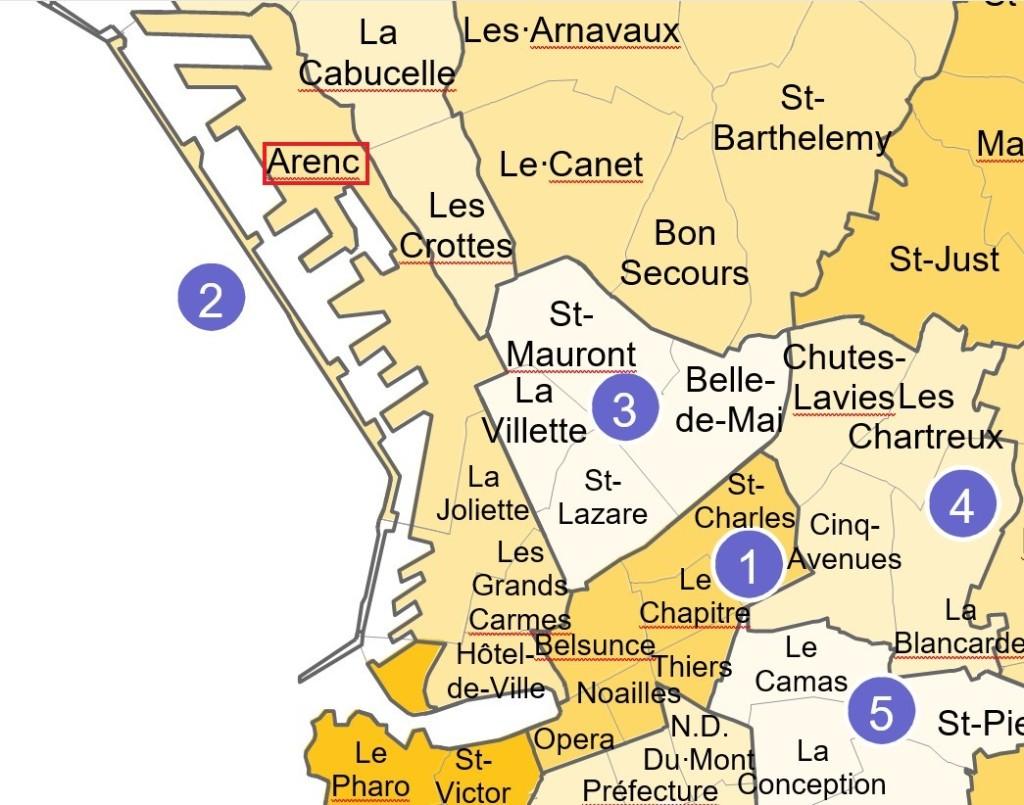 Le quartier d'Arenc dans le découpage des 111 quartiers de Marseille